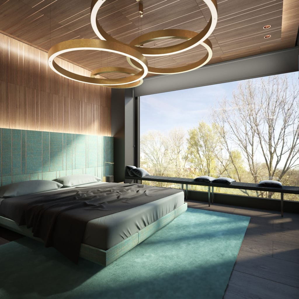 Dis Studio Bedroom interior design wall textures and lighting