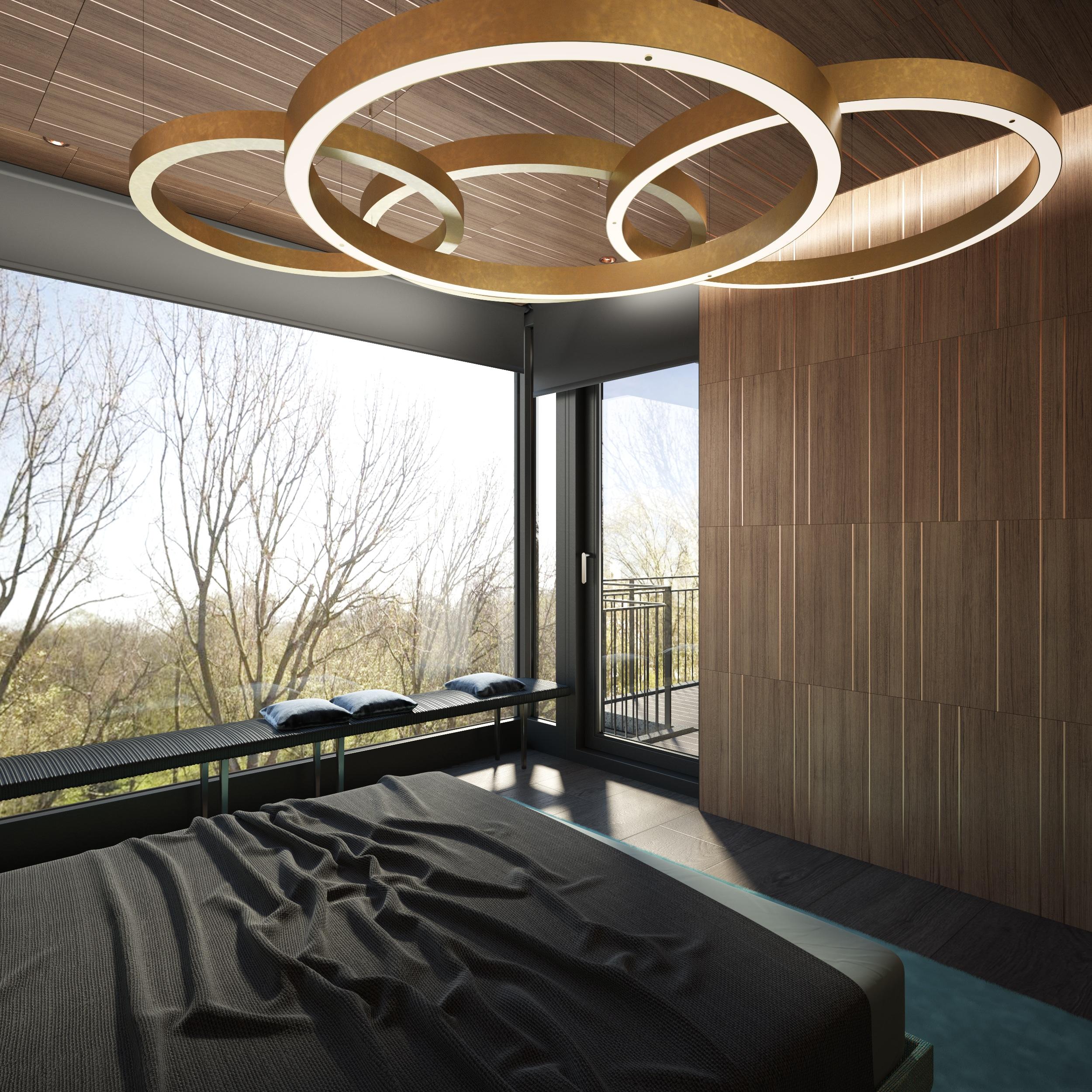 Wall textures bedroom and lighting Dis Studio interior design